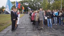 На стадионе «Политехник» собрались студенты и преподаватели теперь уже объединенного высшего учебного заведения.